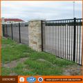 High quality black powder coated steel picket fence