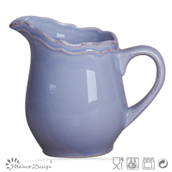 Embossed Big Pitcher white color/water pitcher ceramic