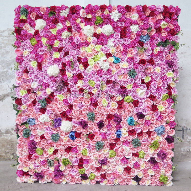 Fake flower wall wedding