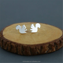 E001-Classic Tiny Squirrel Earring Jewelry Gold/Silver Plated Cute Squirrel Earrings Stud Unique Earrings Jewelry for Women