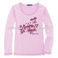 Womens Long Sleeve Cotton Printing T-shirt