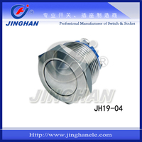 JH19-05 IP65 no lamp 19mm stainless steel nickel plated brass round momentary pushbutton switch