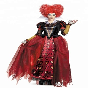 Coldker Custom Made Royal Queen Of Heart Costume Alice In Wonderland Queen Cosplay Clothing Women Halloween Dress