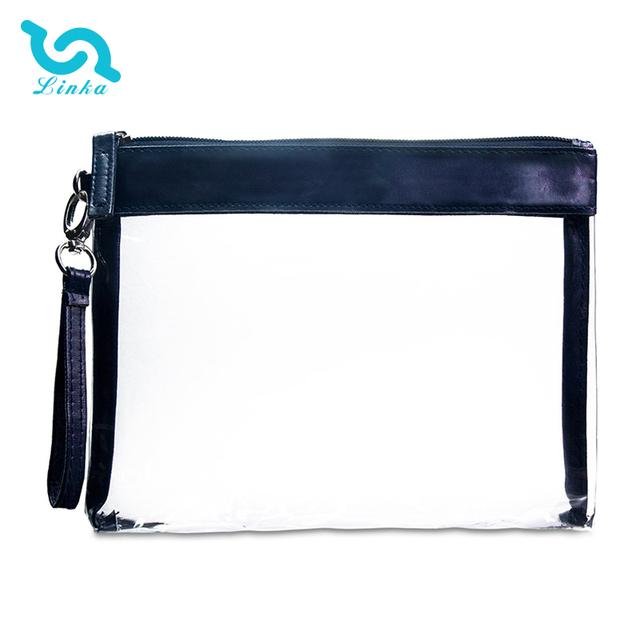 LINKA brand portable blue lightweight waterproof clear pvc makeup bag