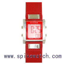 Red color alloy case pu leather band thin design ladies simple sport digital watch