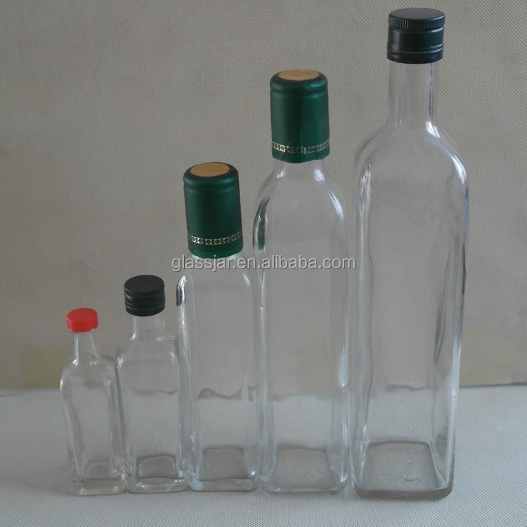 50ml small clear glass bottles for olive oil with cap