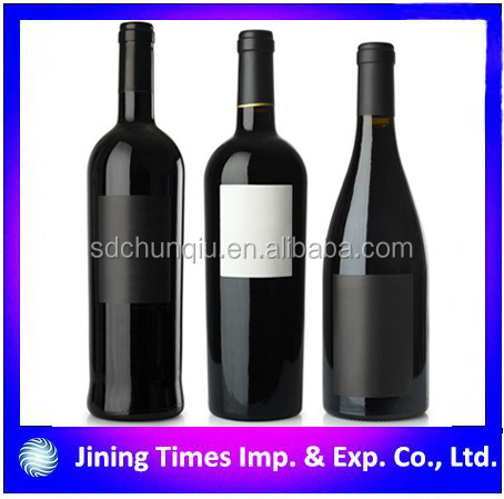 wholesale black color red wine glass bottle