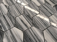 High Polished Black Line and White Grounding peel and stick tile