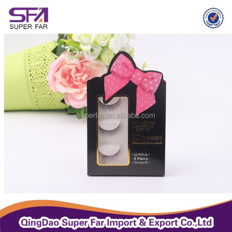 Private label custom packaging box 3D synthetic hair false eyelashes