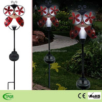 Yard solar stake light metal ladybug windmill led garden light for garden decoration