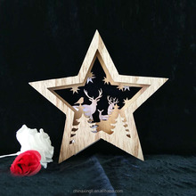 new led wooden christmas star wall hanging decoration light indoor noel fancy crafts