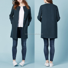 New design lady overcoat women royal blue wool coat