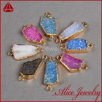 Wholesale natural 18k gold plated druzy jewelry, geode agate stone jewellery pendant connector