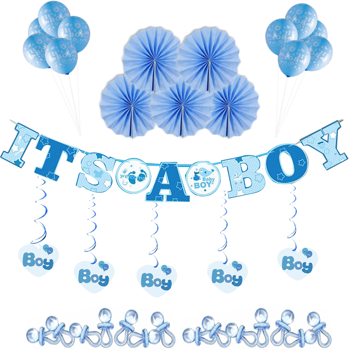 Theme Party Decorations Baby Shower It's A Boy Banner Balloons And Paper Fans