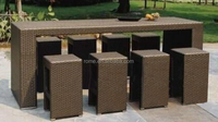 Patio Rattan Furniture / Outdoor Garden PE Rattan Bar Table and Chair