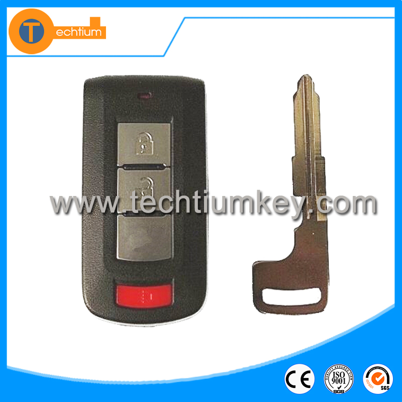 High quality brand auto parts for Mitsubishi 2+1 button smart key covers shell with mechanical blade