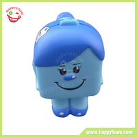 PU Material Customed Printed Cube Woman Stress Ball Toy for Stress Reliever