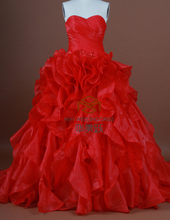 HMY-S055 Real Images Customized Charming Red Satin Organza Floor-Length Ball Gown Wedding Dresses 2015
