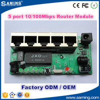 Factory Customize 10/100Mbps 5 Port Router Module Network Switch PCB