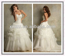 Sexy Famous Strapless Sweetheart Beads Working Bodice Pleated Organza Wedding Dress 2012