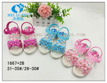 Flowers sweet color with rhinestones Girls flat sandals shoes