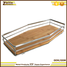 Unusual chrome plated wooden metal frame kitchen restaurant decorative food SERVING TRAY with handles