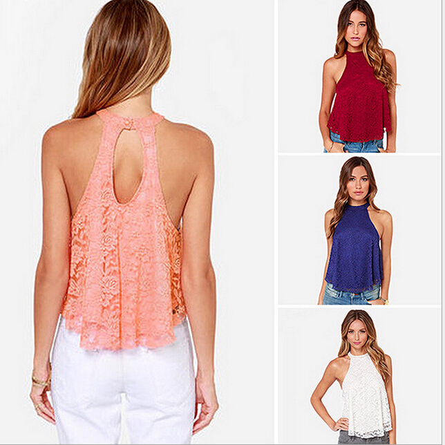 WA2540 New pure colors lace back hollow sexy halter-style tops women blouse