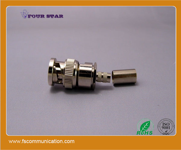 4 pins jack and plug crimp rf bq bnc connector for 4 core coaxial cable