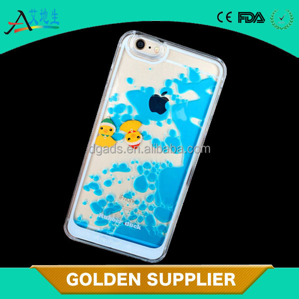 clear hard pc duck liquid phone cover, phone case for iphone 6