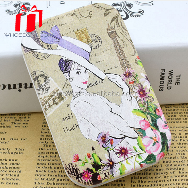 Latest Design Useful Leather Style Plastic Pocket Mirror For Girl