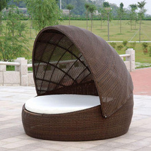Special Design Rattan Outdoor Canopy Patio Sun Lounger Garden Furniture Leisure Sofa Chair Daybed with Canopy
