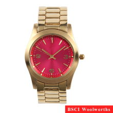 Gold Plated Stainless Steel Case Back Women Wrist Watch Ladies