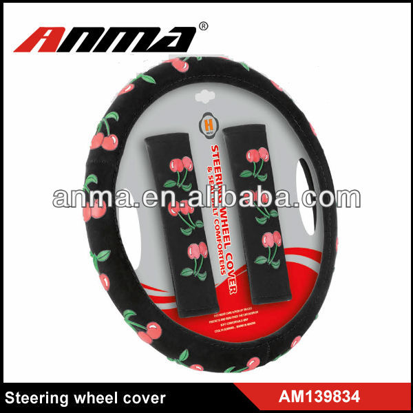 full set girly velvet silicon car steering wheel cover with Shoulder belts