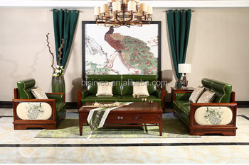 Country Style Wooden And Genuine Leather Sofa Set With Peacock Pattern, Neo Classic  Living Room