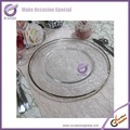 PZ22530 clear silver gold trim glass charger plates wholesale
