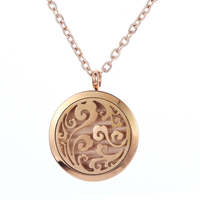 Promotional 316L Stainless Steel Moon and Stars Essential Oil Diffuser Necklace