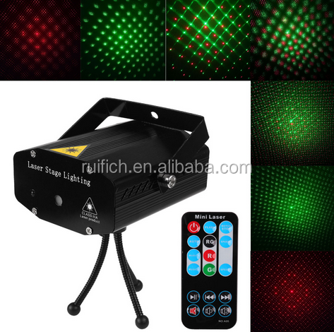 Portable Mini Led Projector DJ Disco Light Red And Green Music Stage Lights Xmas Party Wedding Club Show Laser Lighting