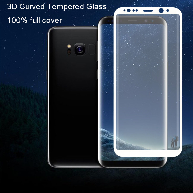 For Samsung galaxy S8 S7 edge Full Cover Case Version 3D Curved edge Temepred Glass Film screen protector for Samsung S8 Plus