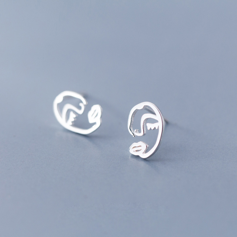 Creative Trendy 925 Sterling Silver Hollow Face Stud Earrings Fine Jewelry Girl Gift
