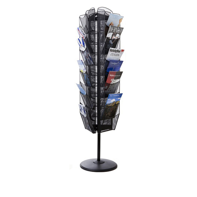 Multi-sides Multi-tiers Bookstore Magazine Brochures Metal Wire Mesh Display Stand Rack