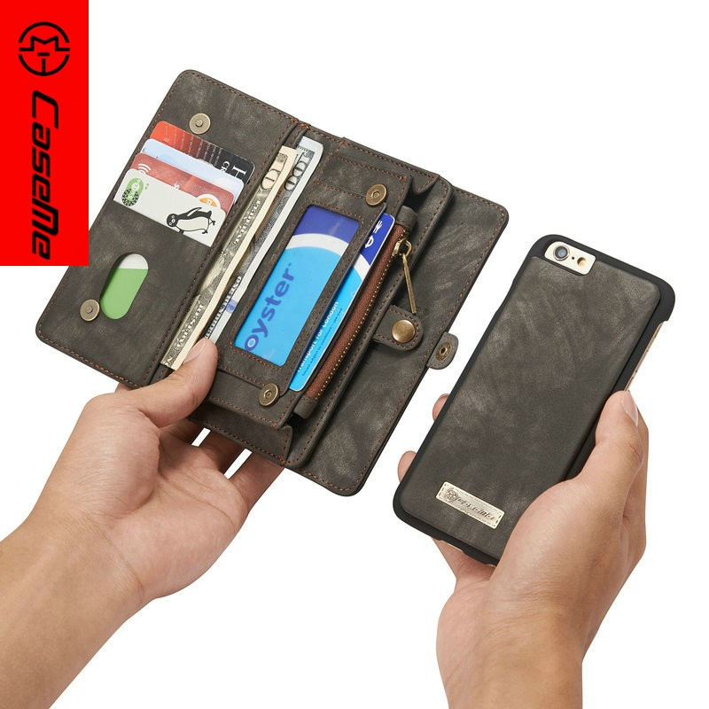 Classical Design Contrast Color Leather Wallet Case For Iphone 6s