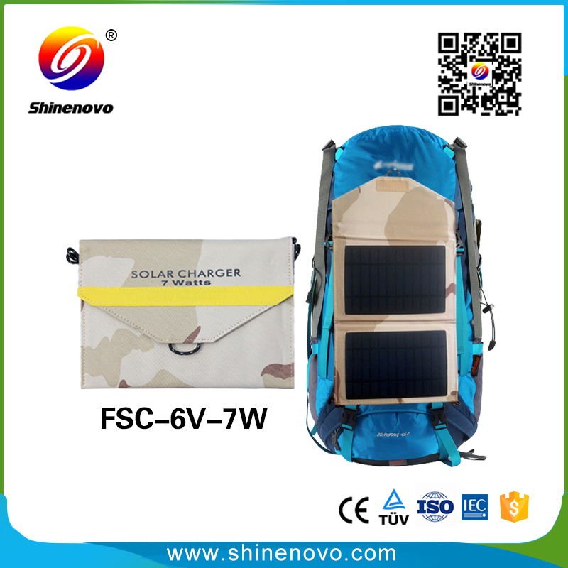 high efficiency 7W poldable solar charger waterproof for mobile,tablet,laptop