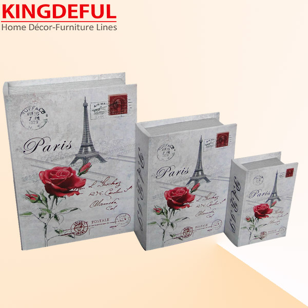 Hot selling fake book storage box with Paris flower design