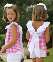 2016 fashion Baby girls plaid ruffle short set 2-piece set gingham top and white shorts girl summer outfits