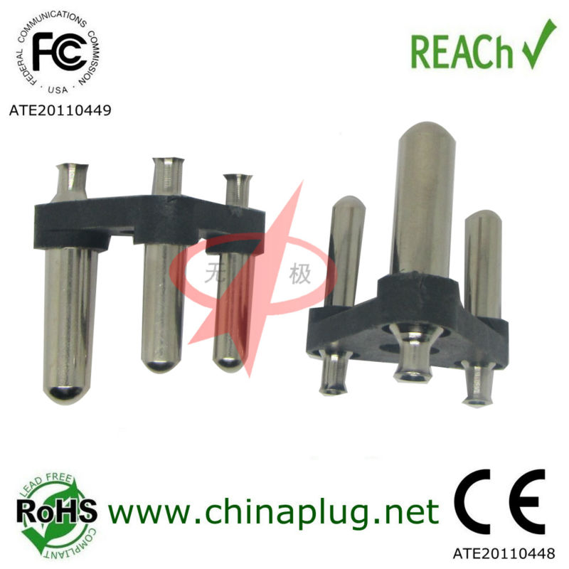 2016 Nickel Plated 16A/250V Great South Africa AC Power Plug Insert with 3 pin brass power cord free samples