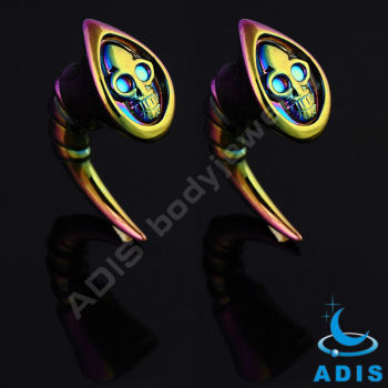 2014 new solid acrylic claw horn skull ear piercing jewelry wholesale