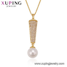 00534 factory price 18k gold color lady micro pave jewelry pearl pendant necklace for sale