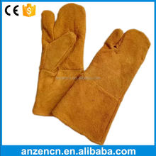 Three Finger Yellow Buffalo Leather Carrying Work Gloves