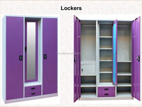 Modern furniture home use steel 2 door with a mirror wardrobe