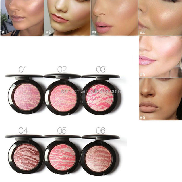 Face Blush Women Makeup Cosmetic Baked Cheek Color Bright Blusher Highlighter